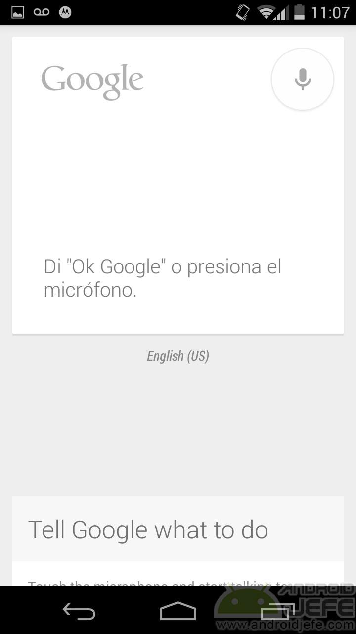 Habilitar la detección de OK Google en el Motorola Moto G
