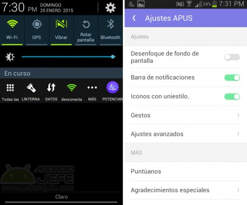 apus launcher notificaciones ajustes