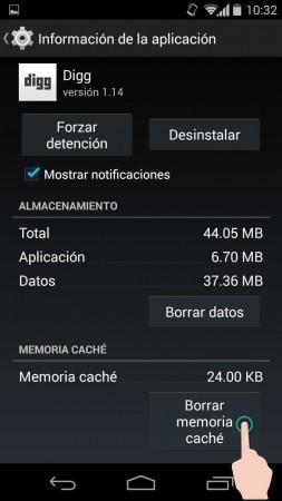 borrar cache android aplicaciones