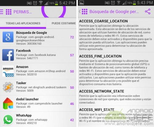 como ver permisos aplicaciones android instaladas