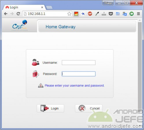 Ingresar a configuración de módem Huawei HG532c