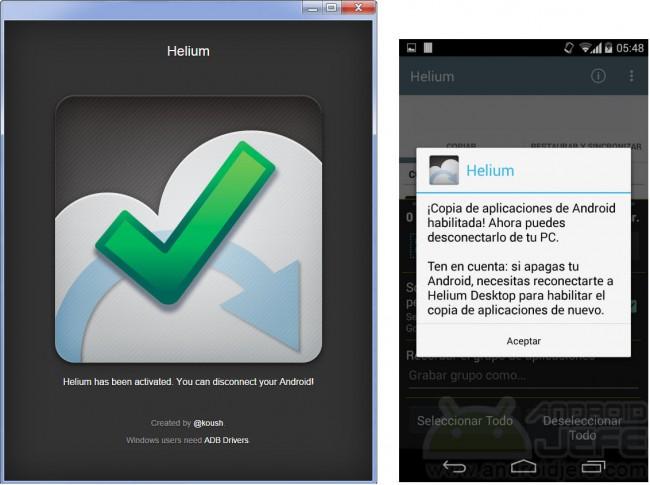 copia de seguridad aplicaciones y juegos helium pc android activado