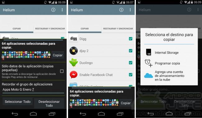 copia seguridad android aplicaciones helium