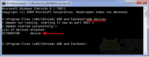 desbloquear bootloader moto g adb devices