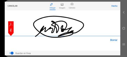 dibujar firma acrobat reader android app
