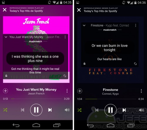 letras de canciones spotify android