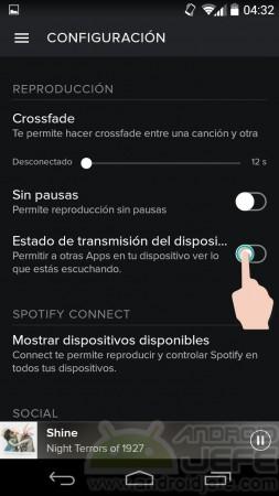 letras de canciones spotify android configuracion