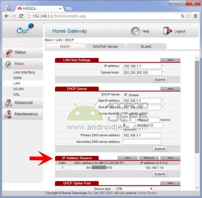 Reservar IP en módem Huawei HG532c