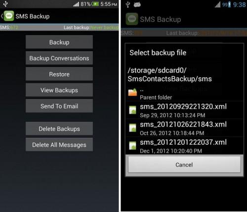 restaurar copia de seguridad sms contactos llamadas