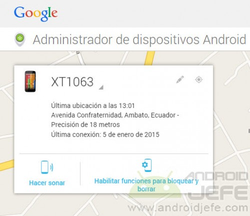 ubicacion disponible administrador dispositivos android moto g