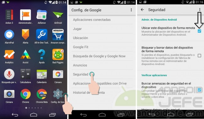 ubicacion no disponible administrador dispositivos android verificar