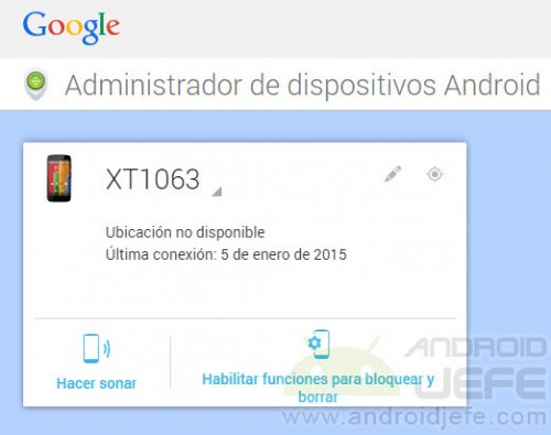 ubicacion no disponible administrador dispositivos moto g