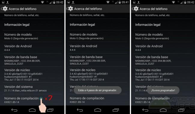 activar depuracion usb android kitkat