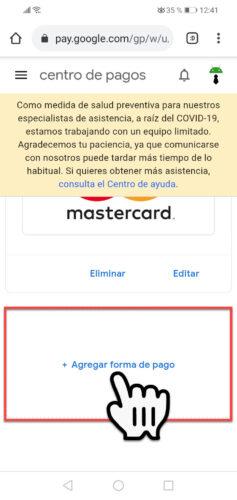 añadir tarjeta de credito al celular
