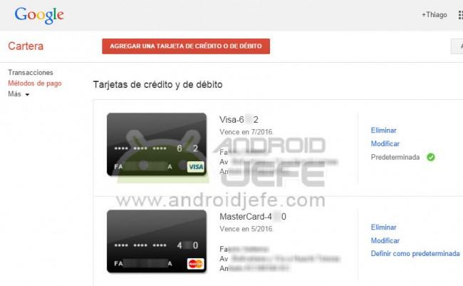 eliminar tarjeta de credito android