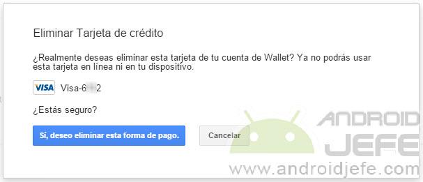 eliminar tarjeta de credito android confirmar