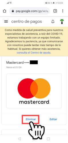 eliminar tarjeta de credito google play celular