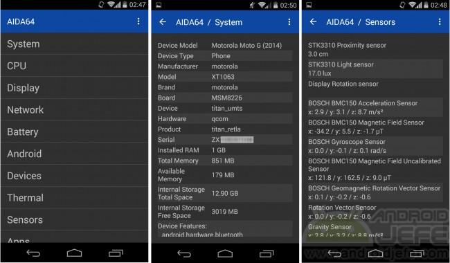 Aida 64 para Android v 1.08 corriendo en Moto G 2014, Android 4.4.4.