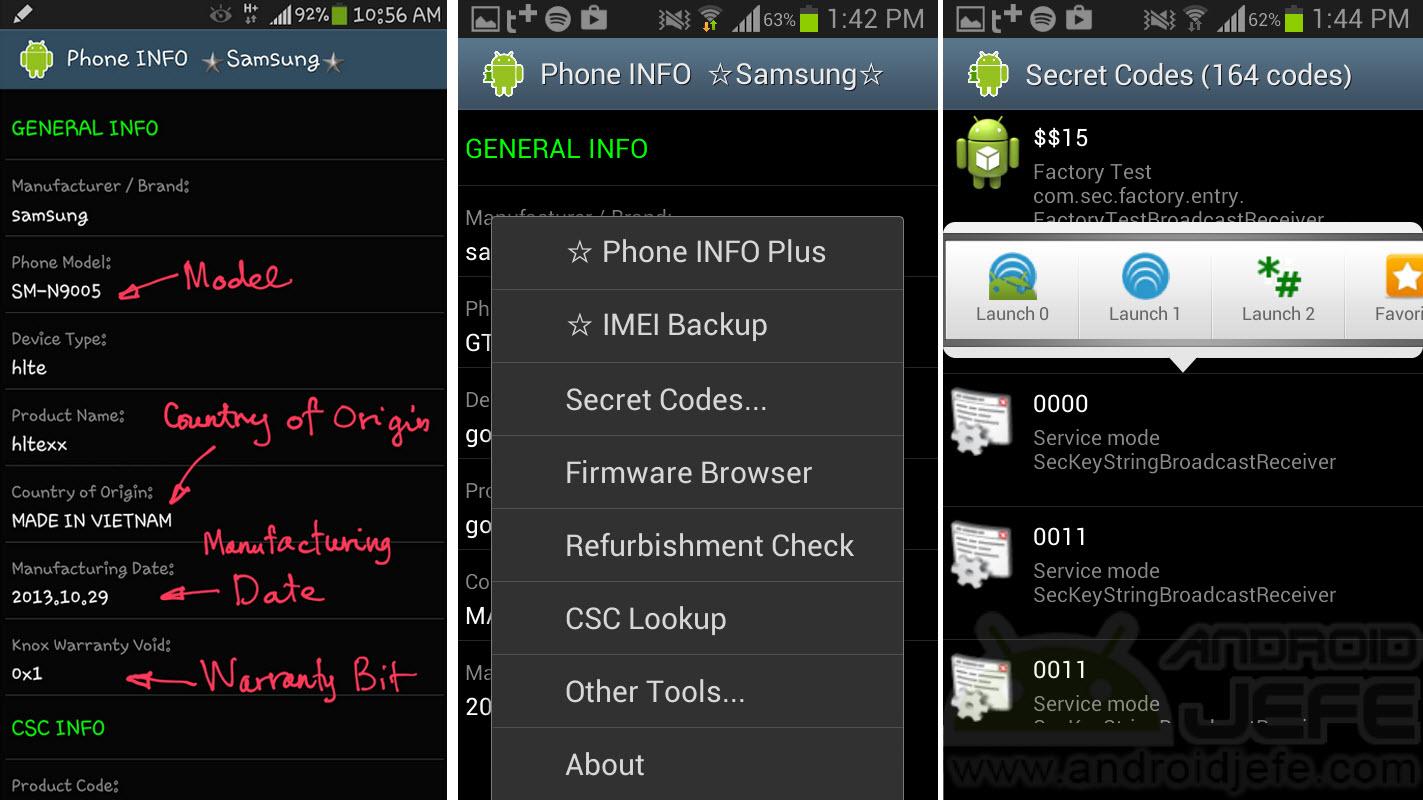 Códigos secretos y menús ocultos en Samsung • Android Jefe
