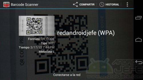 Barcode Scanner. Enfocar el código QR devuelve la red y la opción para conectar.
