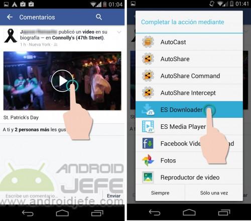 Descarga de un vídeo ajeno, desde la aplicación Facebook, usando ES File Explorer.
