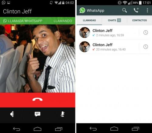 Llamadas WhatsApp activadas en la aplicación para Android