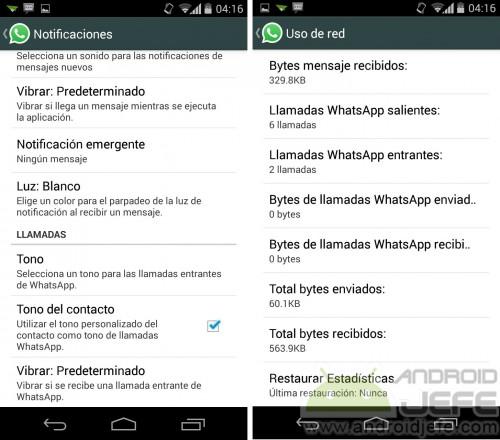 AJustes de llamadas en WhatsApp para Android