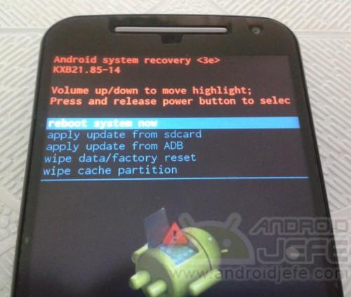 Modo Recovery del Motorola Moto G 2014