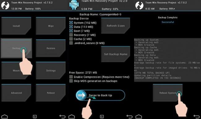 TWRP Nandroid Backup en un Samsung Galaxy S3 mini. Parámetros por defecto utilizados.