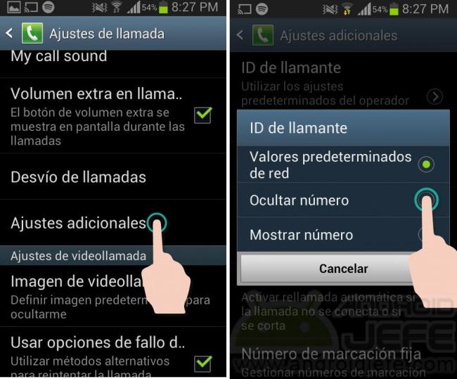 Ocultar ID llamada saliente en Samsung Galaxy S3 mini