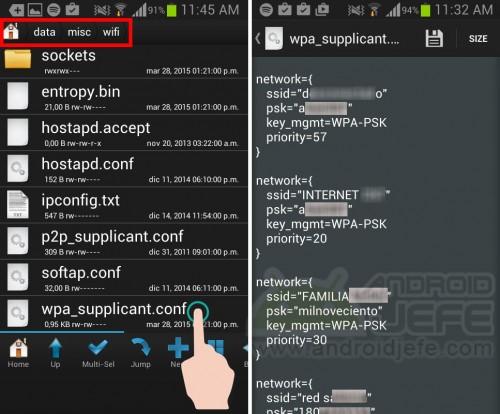 Archivo wpa-supliccant.conf del Samsung Galaxy S3 mini con root