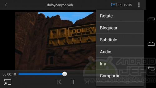 Reproducción de archivo .VOB en Moto G, Android KitKat. Reproductor Wondershare Player v3.0.2