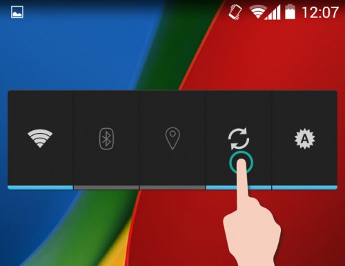 Widget Control de Energía con botón de sincronización.
