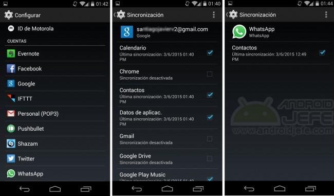 Marcar o desmarcar la casilla de la aplicación para activar o desactivar la sincronización. Android 4.4.4, Moto G Segunda Generación.