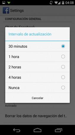 Cambiar frecuencia de sincronización en Facebook para Android. Mayor tiempo, más ahorro de batería.