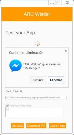 Al hacer clic en Cancelar, se mantiene queda cargada/guardada en Google Chrome la aplicación anterior.