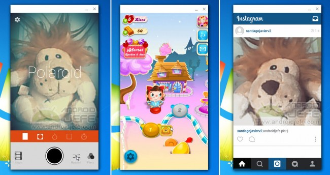 Aplicaciones Android Retrica, Candy Crush Soda e Instagram corriendo en Google Chrome 41 (Windows 7)