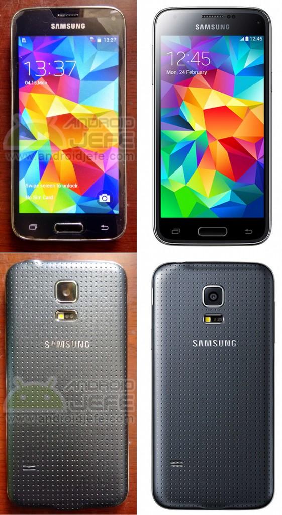 Samsung Galaxy S5 mini Clon a la izquierda (fotos reales de un dispositivo usado) vs. Original (fotos de prensa proveídas por Samsung)