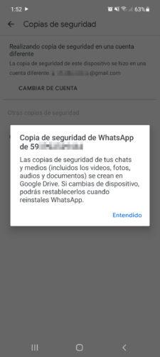 copia de seguridad de whatsapp que datos guarda