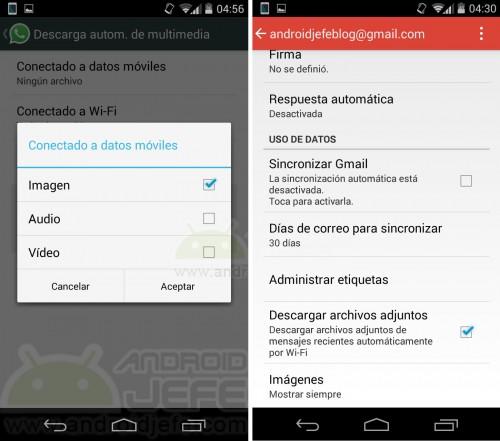 Desactivar la descarga de datos usando la red celular, en WhatsApp y Gmail.