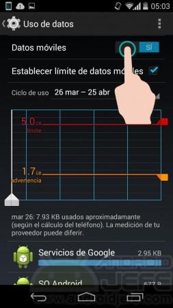 Desactivar datos móviles en Motorola Moto G 2nd Gen, Android 4.4.4