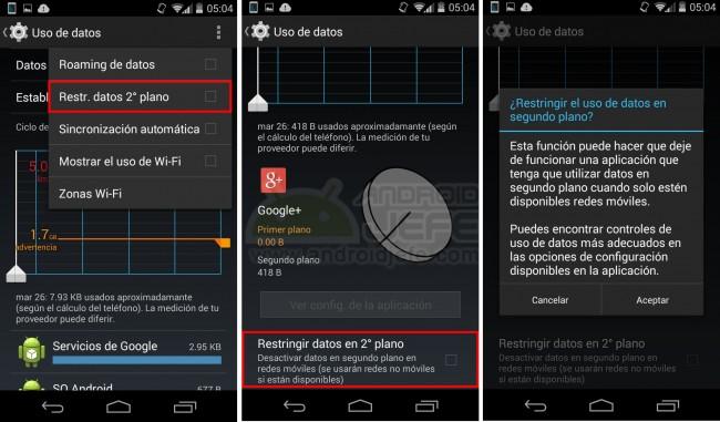 Restringir datos móviles en segundo plano en general o por aplicación.