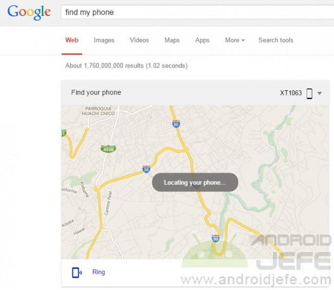 """Buscar en Google """"find my phone"""" devuelve la ubicación de un dispositivo Android."""