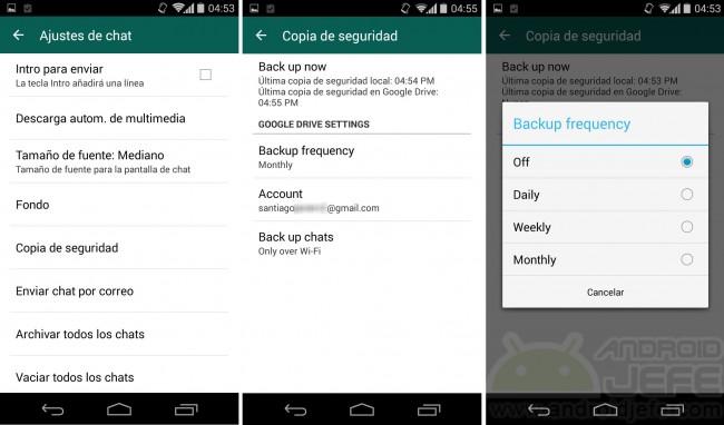 WhatsApp 2.12.45 con Copia de seguridad de chats en Google Drive.
