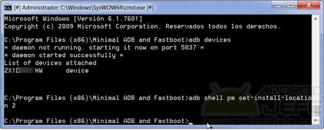 Configurar la instalación de aplicaciones en la SD externa en Motorola Moto G Segunda generación, Android 4.4.4 KitKat