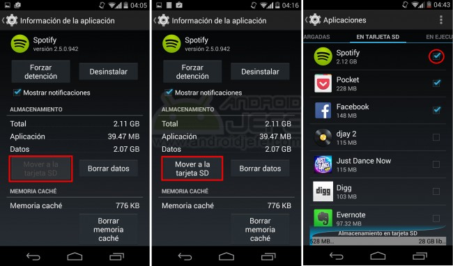 """Configurar la instalación en la SD también activa el botón """"Mover a la tarjeta SD"""", inactivo en ciertas aplicaciones."""