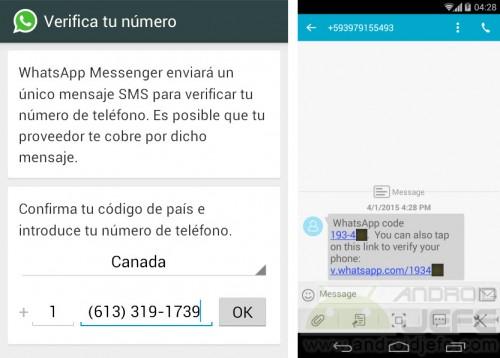 Verificación por SMS en WhatsApp