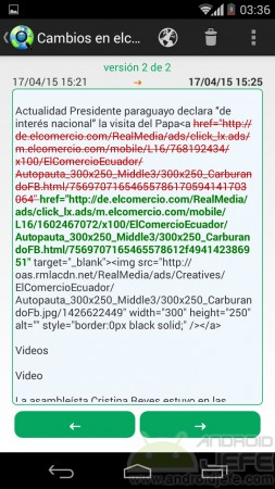 Details of changes from a webpage.  Content removed in red and content added in green.
