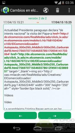 Detalle de cambios en una página web. Contenido eliminado en color rojo y contenido agregado en color verde.