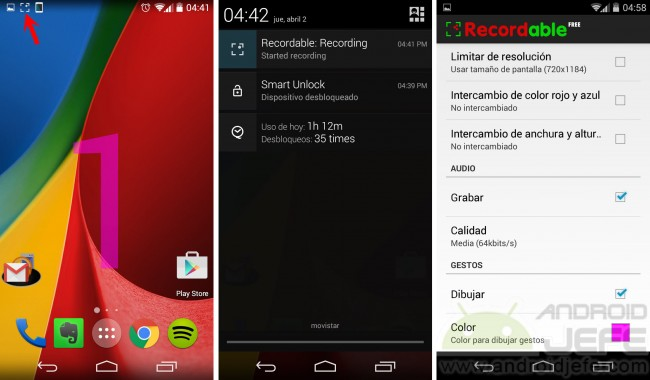 Recordable en Moto G 2nd Gen con Android 4.4.4 sin root.